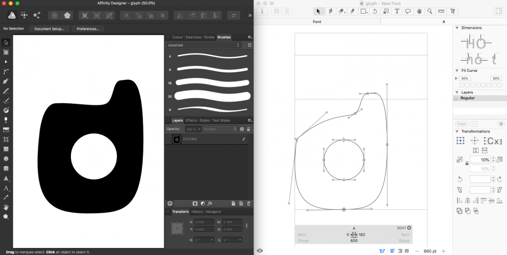 Problem with copy/paste from Affinity Designer - Glyphs